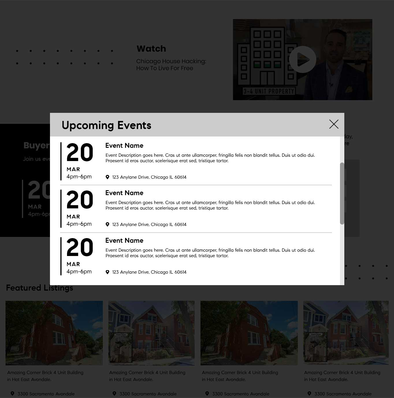 X Plus Events Popup